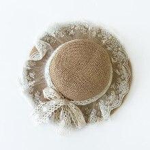 Лидер продаж, летняя кружевная пляжная боковая Кепка, мягкая бумага, соломенная шляпа для девочек от 3 до 6 лет