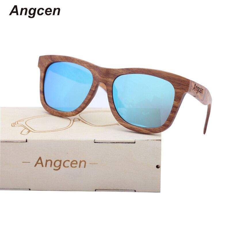 Angcen 100 ٪ الخشب الطبيعي النظارات الشمسية رجل يستقطب نظارات شمس مع نظارات حالة الخشب الرجعية خمر النظارات الشمسية مربع الذكور