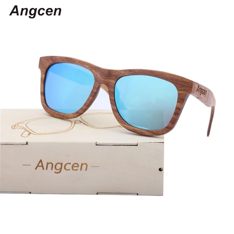 Angcen 100% Natural Wood Solglasögon Man Polariserade solglasögon med träglasögon Retro vintage Square Solglasögon man