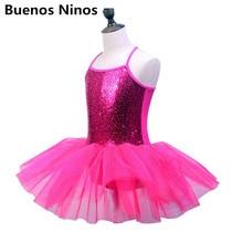 Solid Color 2019 Hot Style Childrens Sequins Ballerina Dress For Gymnastics Leotard Girls Condole Belt Tutu Dance Clothe
