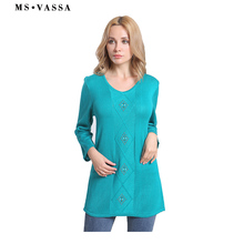 MS VASSA 2018 New Casual Spring Women Long Sweaters Solid O-Neck Ladies Jumpers Sleeve Pullovers