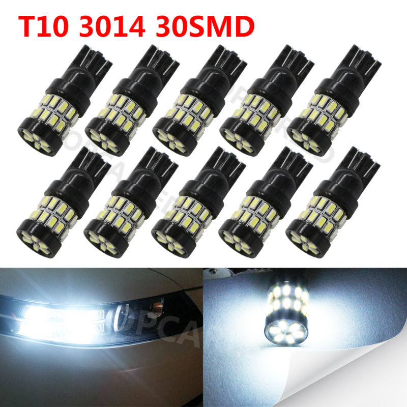 10pcs T10 canbus 30LED SMD Car Bulb Car Auto LED T10 led 194 W5W 3014smd Wedge Light Bulb Lamp t10 30SMD White light car led dc12v big promotion t10 24 smd cob led panel super white car auto interior reading map lamp bulb light car light source