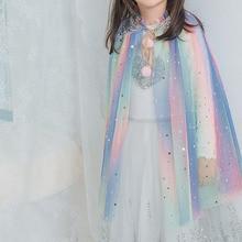 лучшая цена baby clothes 2019 princess outwear girls coat Sequin kids cloak girls party clothing fairy baby jacket 2~8 age mesh girl shawl