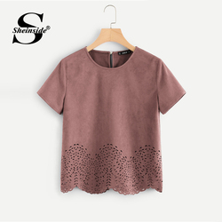 Sheinside Pink Scallop Laser Cut Out Blouse Solid Button Back Short Sleeve Top 2018 Summer Women Office Ladies Work Blouse