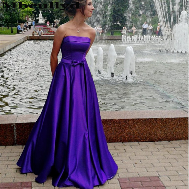 Mbcully Strapless Purple Satin   Prom     Dresses   2019 Gorgeous A-Line Backless Grils Evening Party Gowns With Chic Bow Robe de soiree