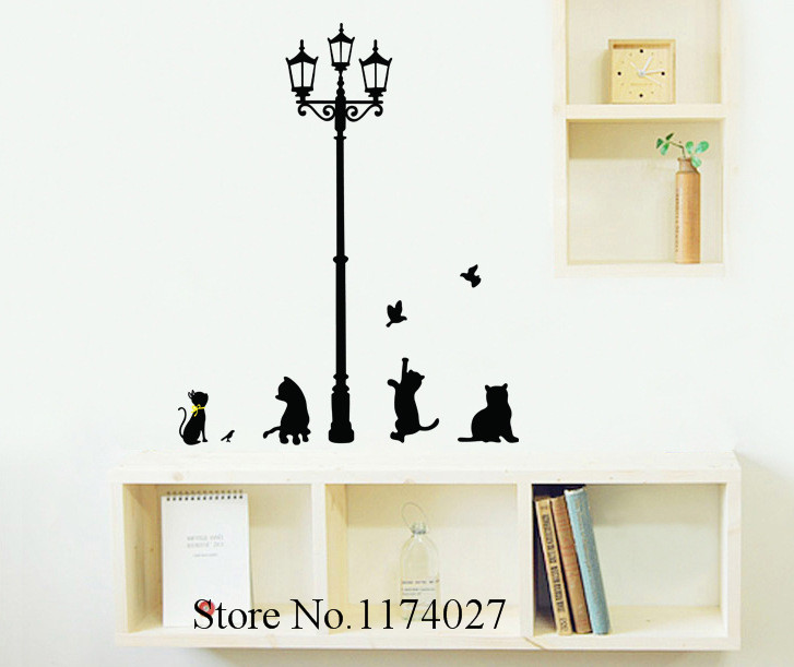 Free shipping little Cat under Street Lamp Wall Stickers Home Decor DIY Wallpaper Art Decals Decoration Removable