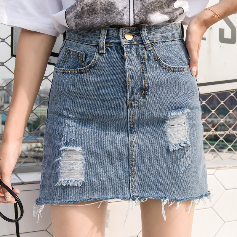 ilstile 2018 Women Ripped Hole Washed Demin Short Midi Skirts Summer High Waist Casual Fashion Sexy Skirts Plus Size XL-5XL