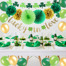 Saint Patricks Day Party Decoration Kit Lucky in Love Banner Shamrock Garland Latex Balloons Irish Green Fans Kids Favor