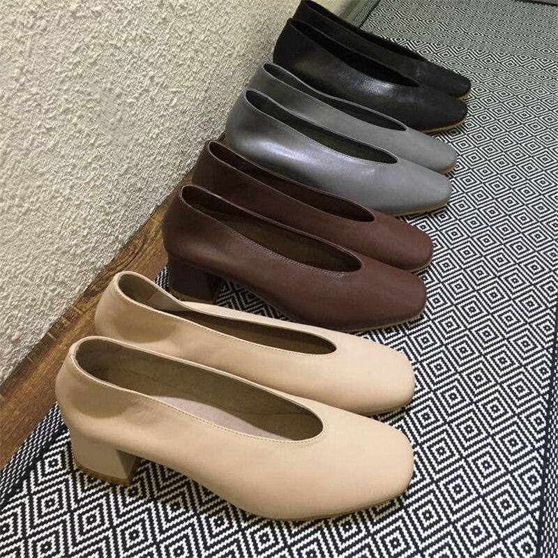 Gant gray beige Dames Femmes Véritable Cuir Noir Gris Grande Black Talons De Pompes Taille Mode Rétro En coffee Bloc Bureau Chaussures qRwRECU