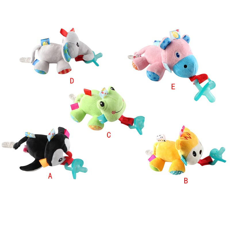 Baby Pacifiers Silicone Cartoon Animal Plush Nipple Soother Toys Toddler Boy Clips Girl Toy Baby Pacifier Clip 2019