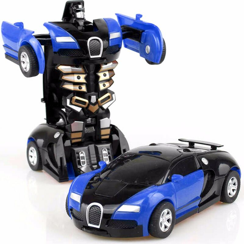Zhenwei Police Transform Robot Car Pull Back Bump Into Transformation Deformation Robot 2 In 1 Car Model Vehicle Boys Toys Gift