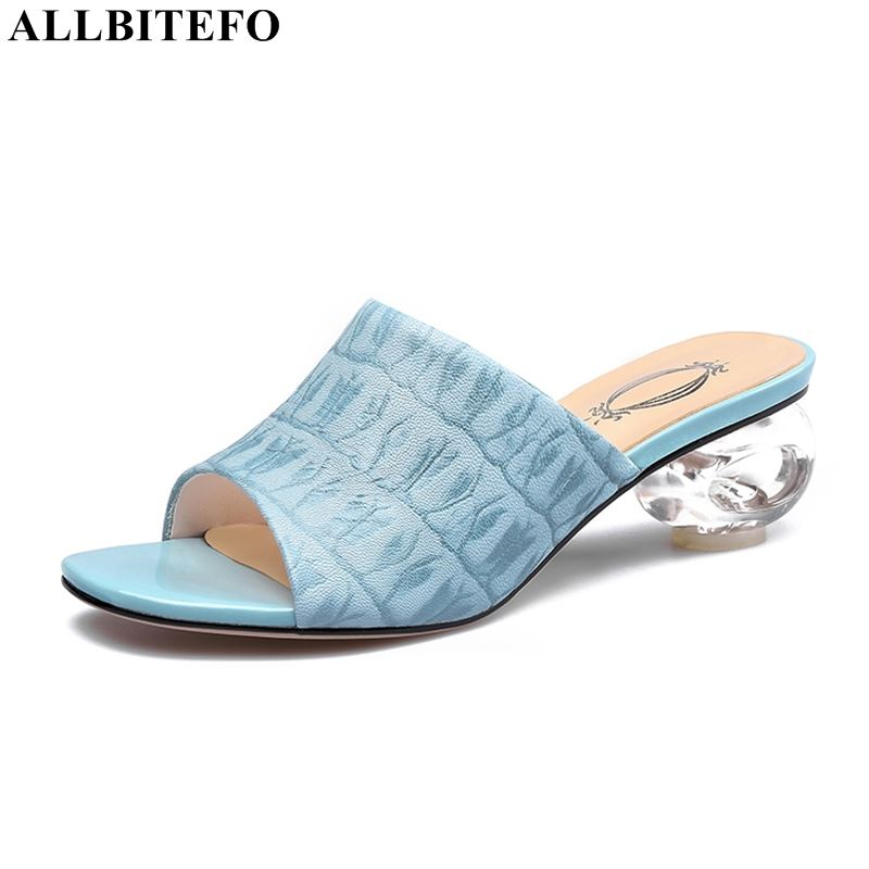 ALLBITEFO high quality genuine leather high heels party women shoes crystal heel summer women slippers beach