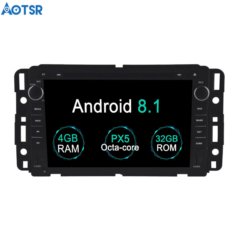 Aotsr Android 8.1 GPS navigation Lecteur DVD de Voiture Pour GMC Yukon Tahoe 2007-2012 multimédia 2 din radio enregistreur 4 GB + 32 GB 2 GB + 16 GB