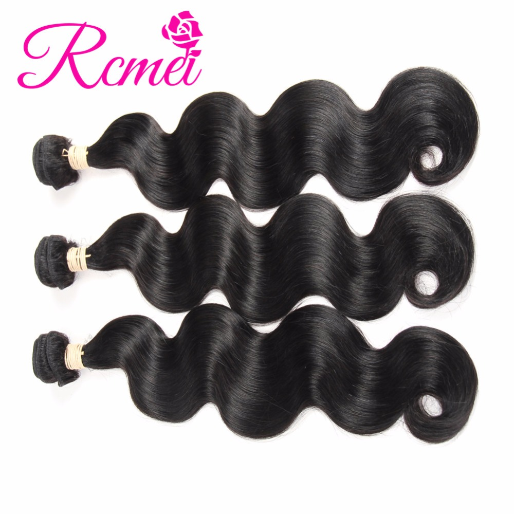 Rcmei 3 Bundles Peruvian Remy Hair Body Wave 8-30 Inch Hair Extensions 100% Human Hair Bundles Weave Weft Natural Color