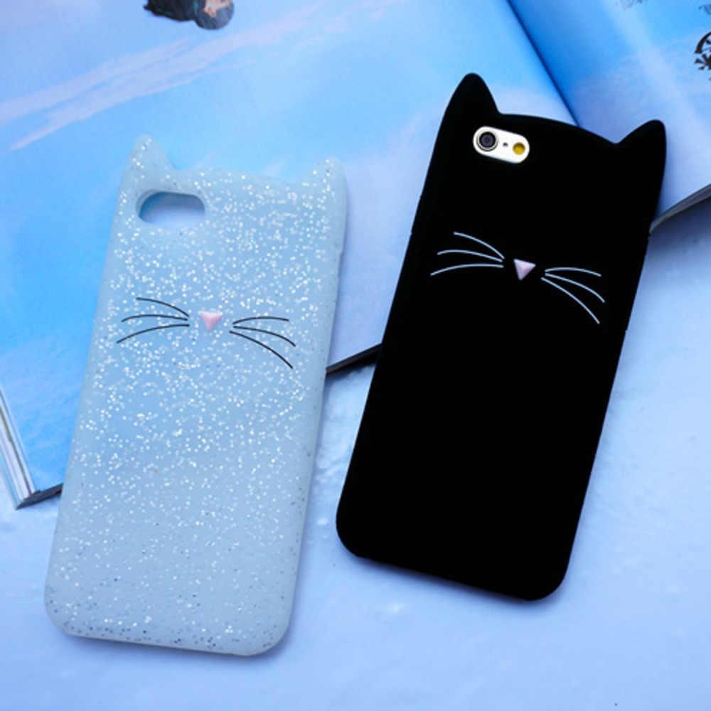 TPU For iPhone 5 6 Case 3D Cute Black Beard Cat Ear Phone Case For iPhone 5S 6S 7 Plus Case Silicon Soft Rubber Coque Back Cover
