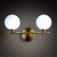 Лофт Стиль творческий двойной круглый Стекло шар Настенный бра современный светодиодный настенные светильники дома прикроватные бра Осве