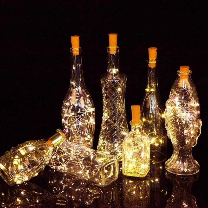 Wine Bottle With Cork 20LED Bottle Lights Battery Cork For Party Wedding Christmas Halloween Bar Decor Warm White String Led