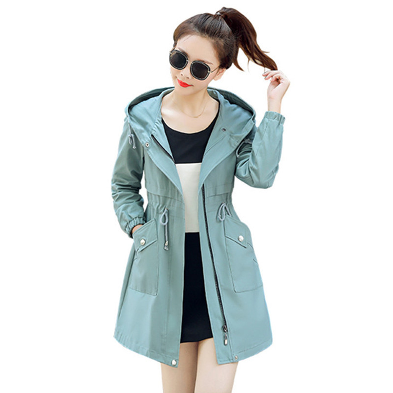 2019 Spring Autumn Women's Hooded Loose Trench Coat Long Sleeve Pleated Zipper Windbreaker Outerwear Female Casual Overcoat M187