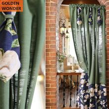 American Retro Linen Cotton Flower Short Curtains Door Curtain Beautiful Green Color Coffee Home Decor