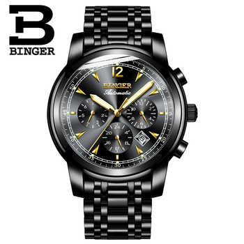 Switzerland Automatic Mechanical Watch Men Binger Luxury Brand Watches Male Sapphire Wristwatches Waterproof reloj hombre 17