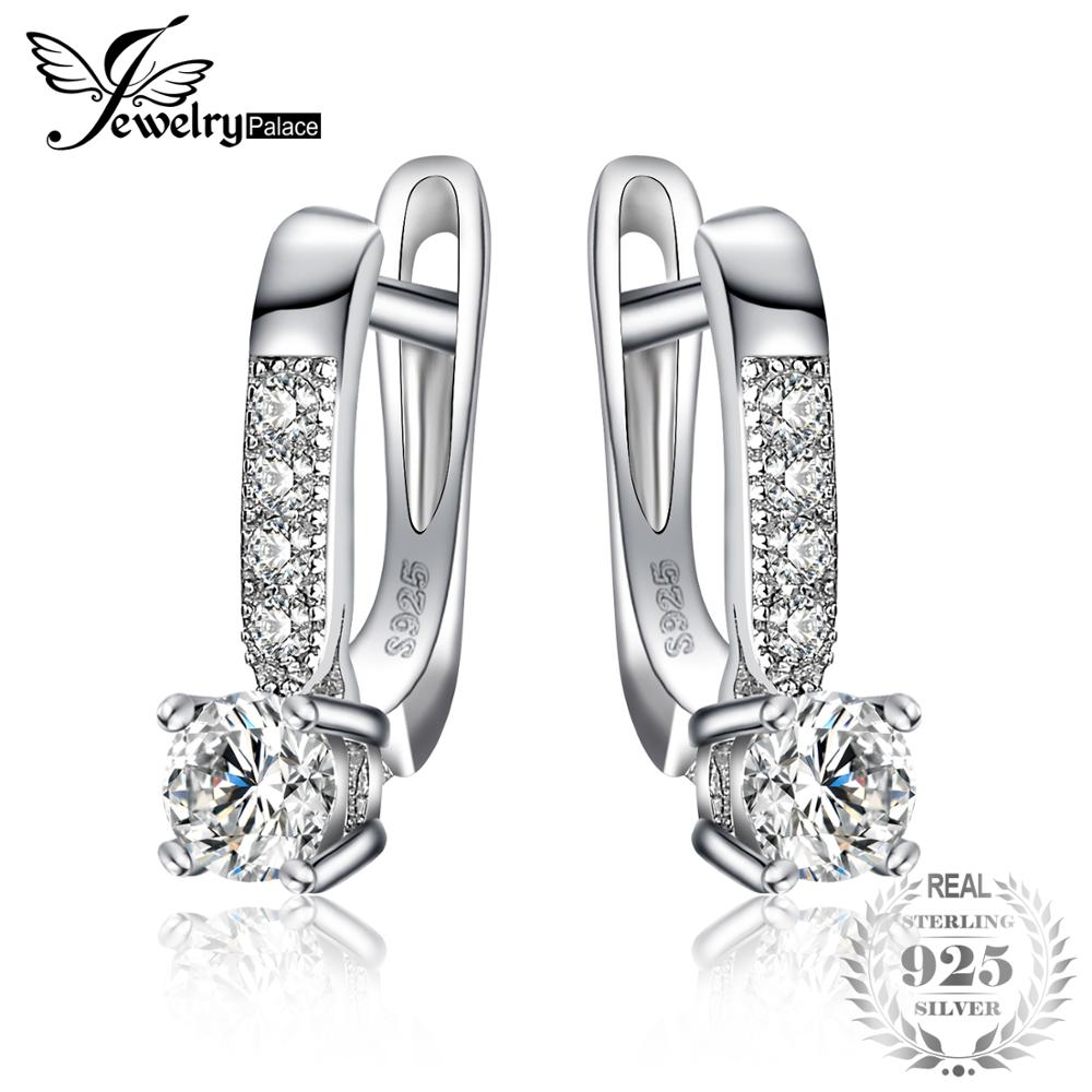 Sterling Silver Earrings 1ct Cubic Zirconia CZ Clip Earrings Fine Jewelry Anniversary Gifts For Women Fashion