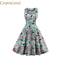 Chamsgend Vintage 1950 S Red Flame Birds Womens Summer Garden Swing Prom Rockabilly Cocktail Party 4XL