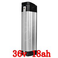 36V 1000W Silver fish battery 36V 18AH electric bicycle 36v 18ah lithium battery with 30A BMS and 42V 2A charger duty free
