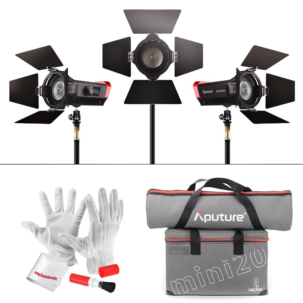 Aputure LS Mini 20 3-Light Kit Two mini 20d and One mini 20c LED Fresnel Light TLCI CRI 96+ 40000lux@0.5m + 3 Light Stand + Case aputure ls c300d cri 95 tlci 96 48000 lux 0 5m color temperature 5500k for filmmakers 2 4g remote aputure light dome mini