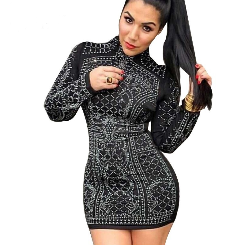 Aliexpress.com : Buy Sexy Geometric Studded Rhinestone Long Sleeve ...