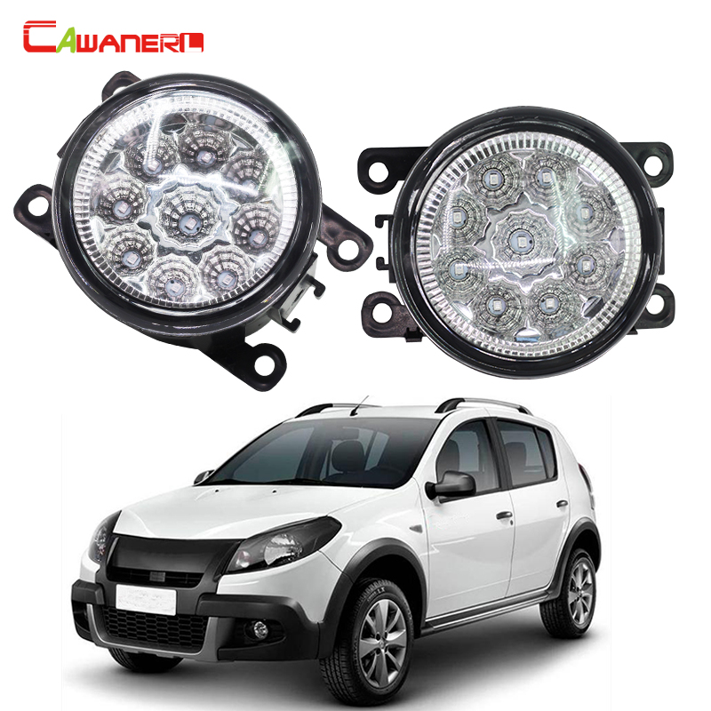 Cawanerl Car Styling LED Light Fog Lamp DRL Daytime Running Light 12V DC 1 Pair For Renault SANDERO STEPWAY Hatchback 2009-2015 cawanerl car styling led lamp fog light daytime running light drl 12v dc 2 pieces for renault scenic 2 ii jm0 jm1 mpv 2003 2009