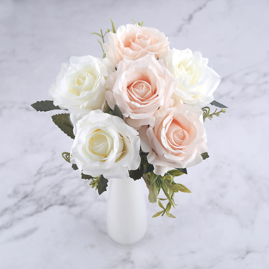 6 Heads White Rose Artificial Flowers Silk High Quality For Wedding