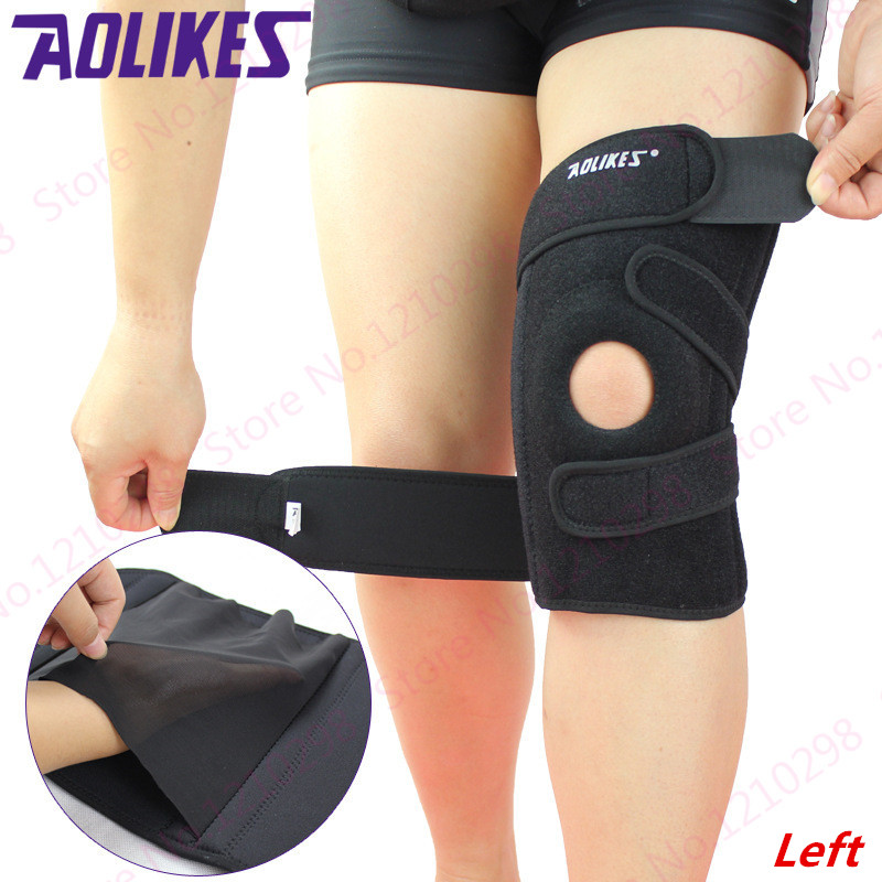 Climbing Fitness Kneepad Black Springs Support Kneepad Breathable Adjustable Tightness Kneepad Shock-absorption Knee Protective