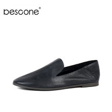 BESCONE New Shallow Women Flat Shoes Fashion Round 1 cm Low Heel Genuine Leather Comfortable Ladies BY21
