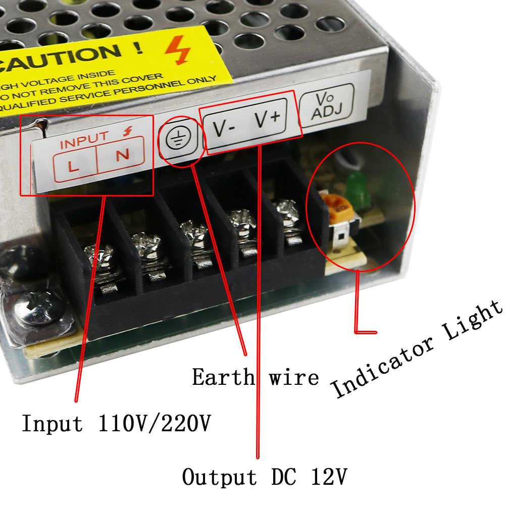 Питание трансформатор AC100-240V для DC12V светодиодный драйвер 1A 2A 3A 5A 10A 15A 20A 30A 40A 50A 60A Светодиодные ленты/адаптер питания