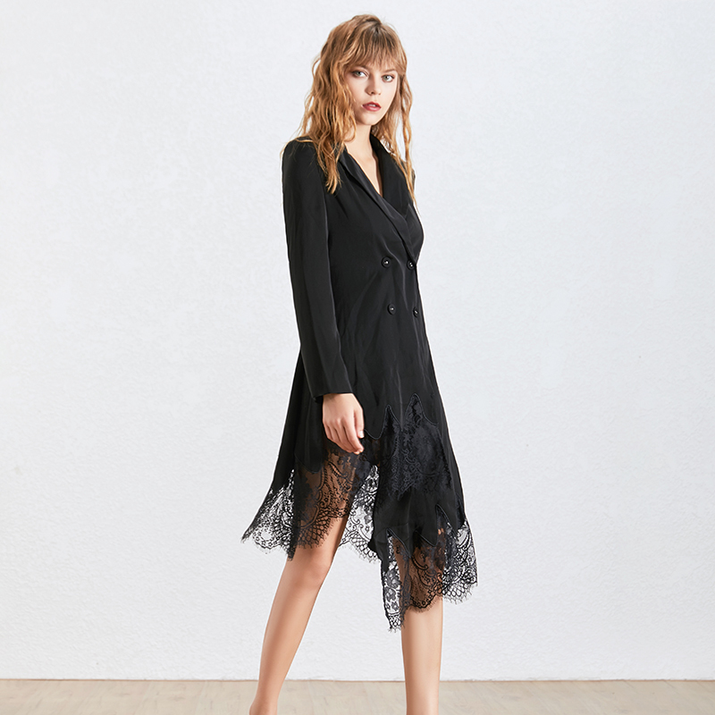Kadın Giyim'ten Elbiseler'de TWOTWINSTYLE Zarif Dantel Patchwork Elbise Kadınlar Için Yaka Uzun Kollu Yüksek Bel Asimetrik Elbiseler Kadın Moda 2019'da  Grup 3