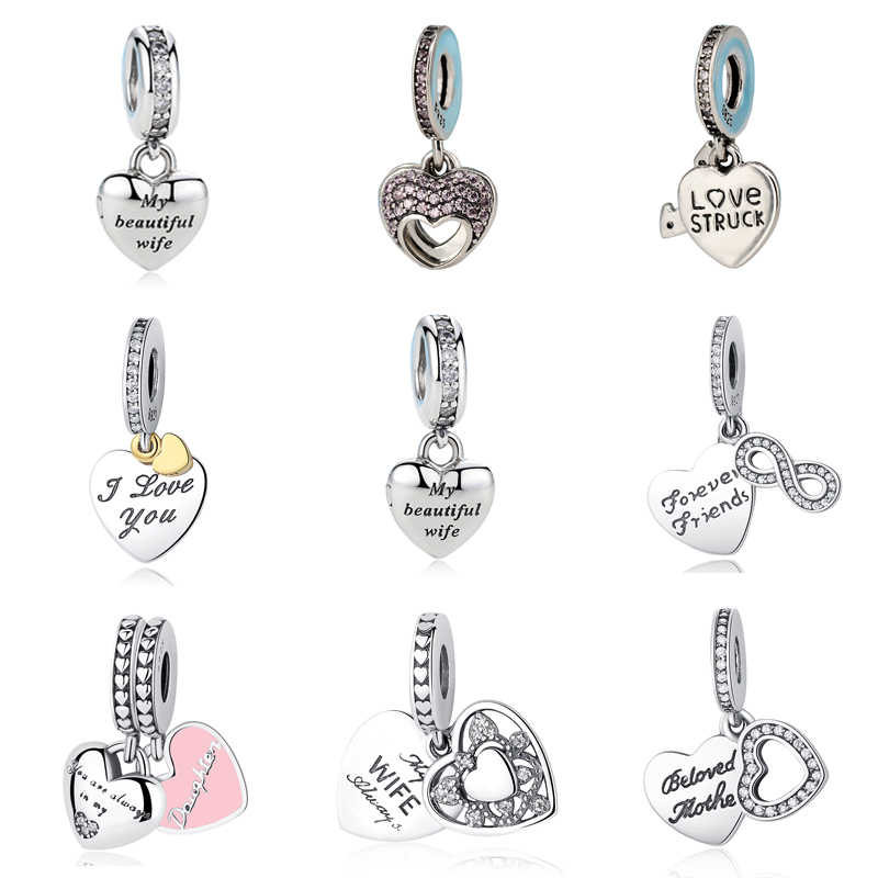 26a60320c Detail Feedback Questions about 100% S925 Sterling Silver I Love My Mum  Love You Forever Beautiful Wife Pendant Bead Charm Fit Pandora Bracelets &  Bangles ...