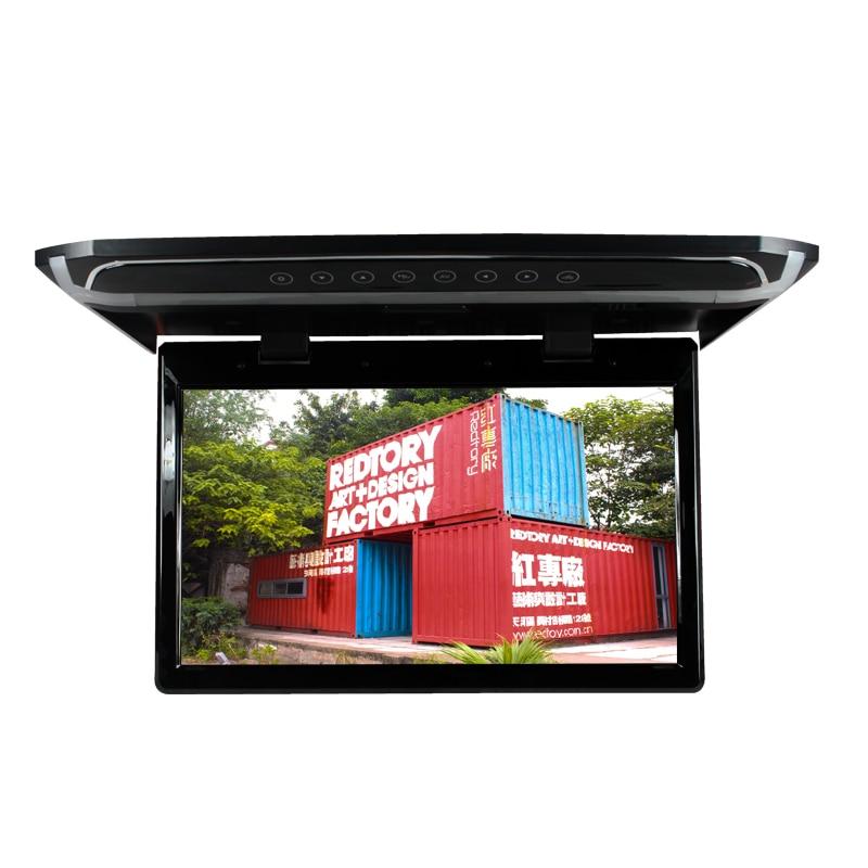 Chaud-vente 15.6 pouce Tactile Bouton Toit Mount Monitor Voiture Plafond Flip Down Moniteur pour Véhicule Affichage HD HDMI USB SD TF Lecteur