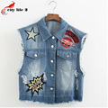 Embroidered Denim Vests Spring 2016 Cowboy Short Design Vest Coat Women's Tops Diamond Coletes Femininos