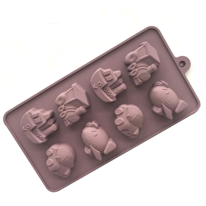 8 Hole Silicone Chocolate Mold Car Ferry Transport Planes Trains DIY Ice Lattice Cake Mold