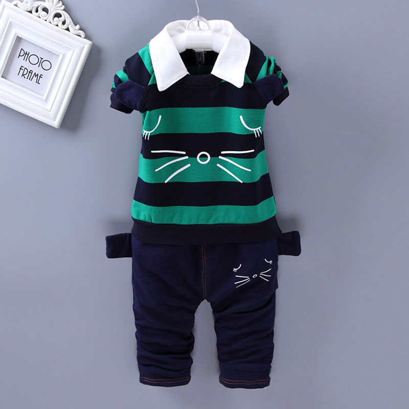 Boy baby spring autumn clothes striped long sleeve suit for infant boys baby's outfit sports brand design clothing set 2pcs sets boys clothes brand 2017 autumn boys gentleman set baby boys striped long sleeve shirt denim long overalls pants 2pcs sets 4