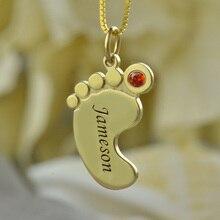 Collar de Color oro Collar de piedra de Nacimiento de Los Pies Del Bebé Mamá niños Collar de Nombre Grabado Celebrar Mamás Niñas Nombre Joyería