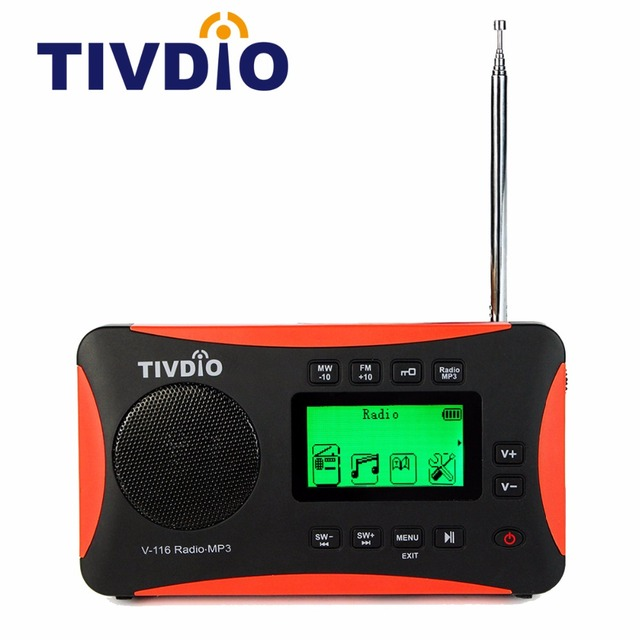 TIVDIO V-116 MP3 Radio Portable World Band Clock Radio Receiver FM AM SW Recorder Support Micro SD/TF Card LCD Display F9206A