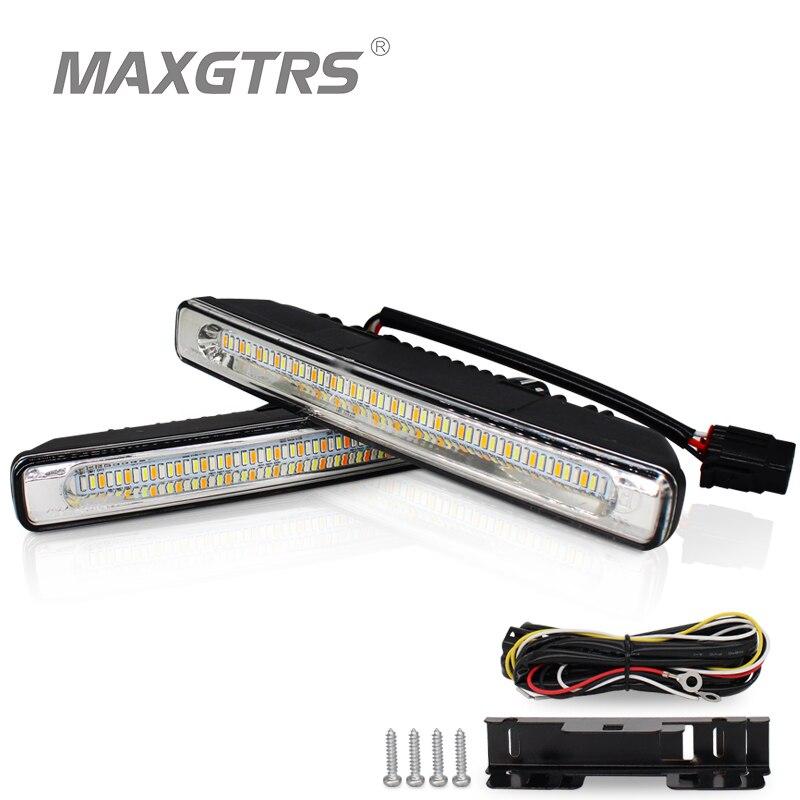 2x Универсальный Три Цвета автомобиля светодиодный 48 SMD 4014 светодиодный дневного света Водонепроницаемый DRL Комплект дневной свет вождения ... ...