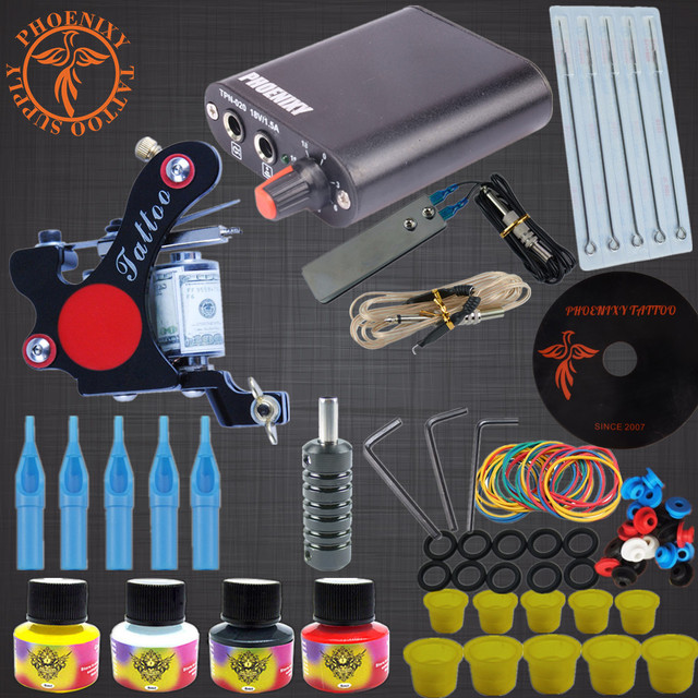 Tattoo Kits 8 Wrap Coils Guns Tattoo Machine Set Black Pigment Sets Power Supply Beginner Tattoo Supplies tattoo machine set