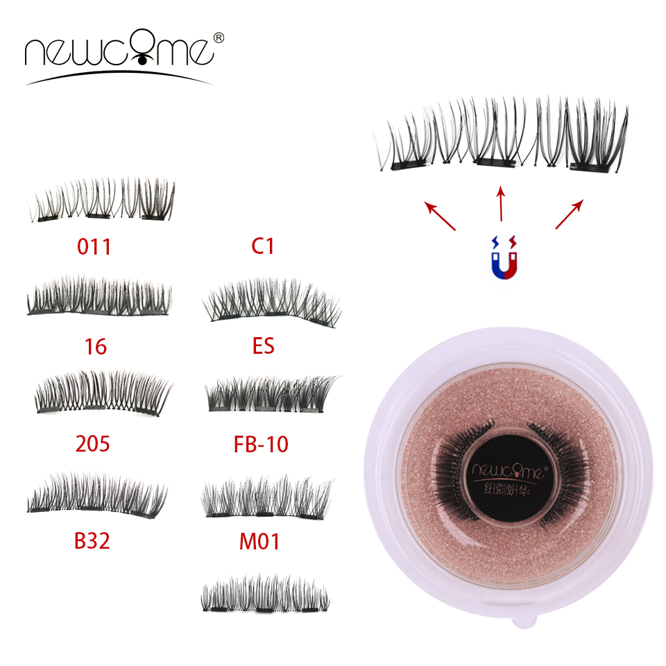 NEWCOME 3 <font><b>Magnets</b></font> <font><b>Eyelashes</b></font> Handmade 3D/6D Natural <font><b>Magnetic</b></font> Lashes Full Strips Eyes Lashes False <font><b>Eyelash</b></font> Cilia Makeup Tool image