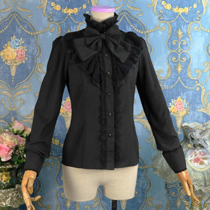 b2f551f2ee1 ... Black Cotton Stand Collar With Bow Women Ruffles Lace Vintage Lolita  Blouse Victorian Gothic Shirt Used ...