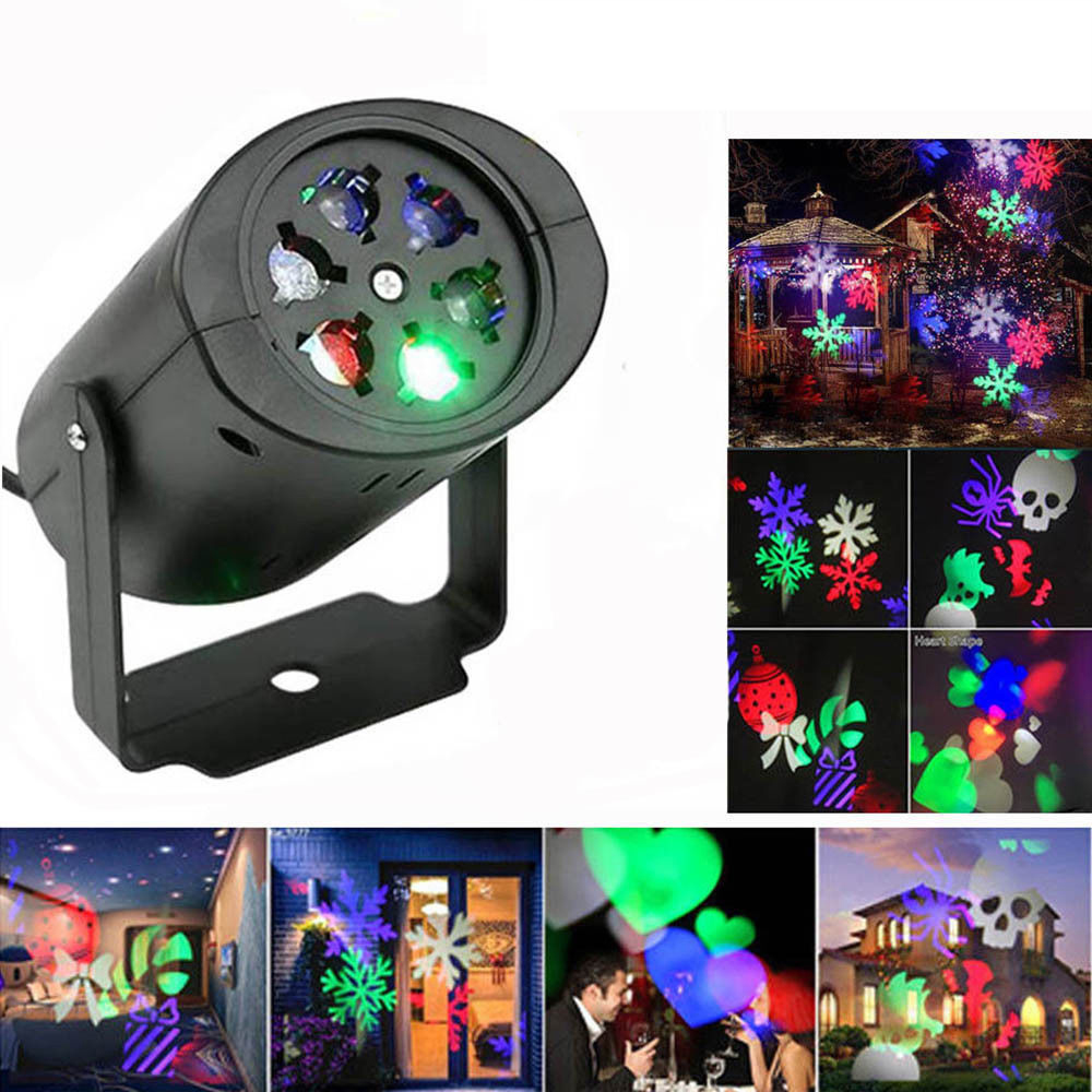LED Spotlight Projector Lamp Snowflake Heart Christmas Birthday Light KTV Bar Home Halloween Decoration With EU/US/AU/UK Plug