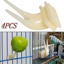 4 шт Птицы попугаи фрукты вилка товары для домашних животных пластиковый держатель еды Кормление на клетке товары для домашних животных
