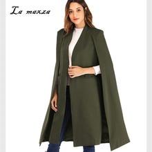 Женское зимнее пальто Элегантное длинное пальто с накидкой модное винтажное пальто корейский стиль шерстяное пальто с накидкой
