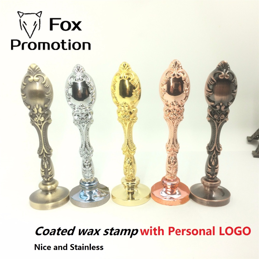 Coated Vintage Peacock metal Wax seal stamp customized with logo,stainless 5 colors,league DIY gift ancient stamp High Quality mdlg vintage big elephant custom picture logo luxury wax seal sealing stamp brass peacock metal handle gift set